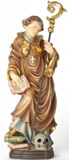 Heiliger Fridolin mit Totenkopf Heiligenfigur Holz geschnitzt Schutzpatron