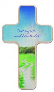 Kinderkreuz Buche natur Gott begleite behüte dich 14 cm Wandkreuz Holz Kreuz