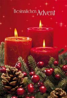 Weihnachtskarte Besinnlichen Advent (6 Stück) Grußkarte mit Kuvert