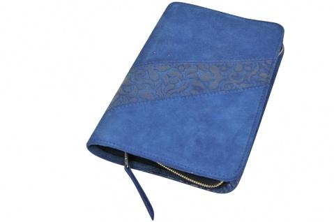 Gotteslobhülle Blumen Großdruck Velourleder Blau Gesangbuch Einband