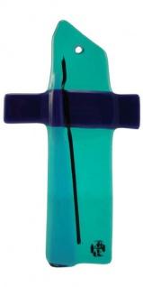 Glaskreuz hellblau dunkelbau Fusing Glas Kreuz Handarbeit 11 cm Wandkreuz Unikat