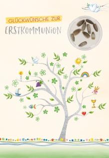 Glückwunschkarte Lebensbaum Sonnenblumensamen Glückwünsche Erstkommunion 5 Stück