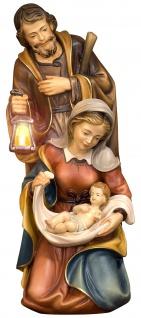 Heilige Familie barock Blockkrippe Holz Figur handbemalt Südtirol Schnitzkunst