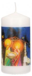 Tischkerze Weihnachten Krippe Stille Nacht, heilige Nacht 10 cm