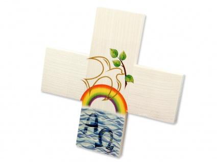 Kreuz für Kinder Regenbogen 12 cm Kruzifix Holz-Kreuz Wandkreuz