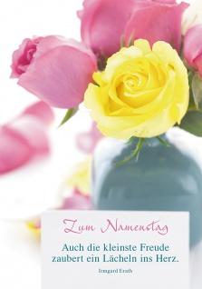 Postkarte Zum Namenstag (10 Stück) Rosen in der Vase Irmgard Erath Grußkarte