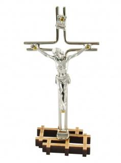 Stehkreuz Metall-Stäbe Corpus silberfarben 13 cm