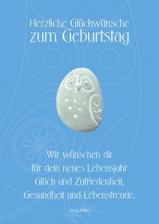 Geburtstagskarte blau Stein (3 Stck) Glückwunschkarte Kuvert