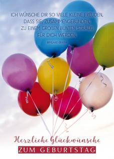 Postkarte Geburtstag Luftballons 10 St Adressfeld Glück Wunsch Freude Geschenk