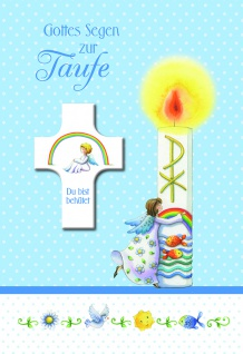 Taufkarte Segenkreuz Gottes Segen zur Taufe (3 Stck) Set Glückwunschkarte Kuvert