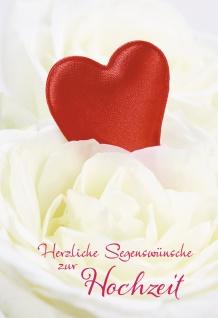Glückwunschkarte Herzliche Segenswünsche zur Hochzeit (6 St) Rotes Herz auf Rose