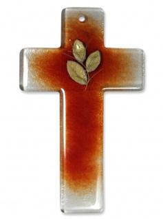 Taufgeschenk Kreuz aus Glas rot mit Goldblatt 20 cm Kruzifix Glaskreuz