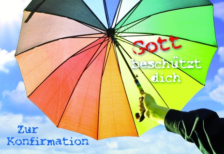 Konfirmation Grußkarte Zur Konfirmation (6 Stck) Regenbogen Schirm Kuvert