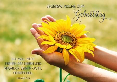 Postkarte Geburtstag Sonnenblume 10 St Adressfeld Bibelwort Freude Fröhlichkeit