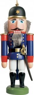 Nussknacker Soldat blau 27 cm Holz-Figur Handarbeit aus Seiffen im Erzgebirge