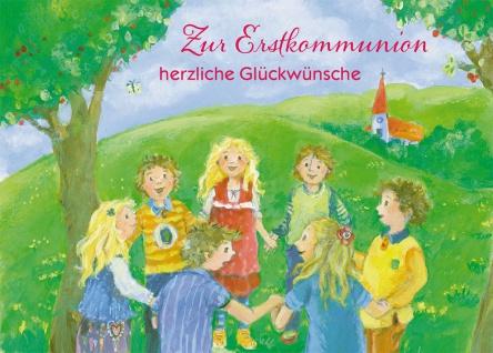 Glückwunschkarte Zur Erstkommunion herzliche Glückwünsche mit Kuvert 6 Stk