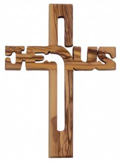 Holzkreuz JESUS aus Olivenholz Jerusalem 19, 5 cm Kruzifix Kreuz