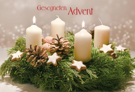 Weihnachtskarte Gesegneten Advent (6 Stück) Grußkarte Set mit Kuvert