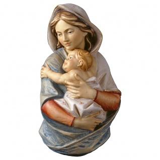 Mutter Gottes Büste Wandrelief geschnitzt bemalt Maria mit Kind Schnitzkunst
