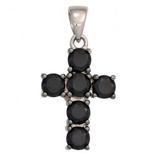 Schmuck Kreuz Anhänger Zirkonia schwarz 925 Sterlingsilber Schmuckkreuz