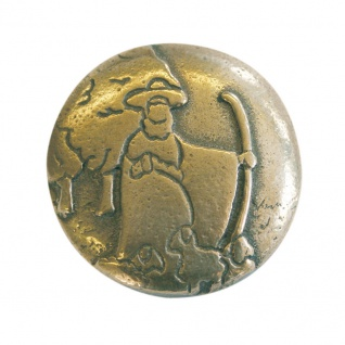 Jakobsweg Handschmeichler Guter Hirte Bronze Ø 4 cm Rosenkranz-Handschmeichler