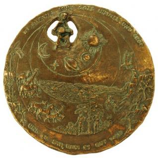 Wandplakette Schöpfung Edelpatina 12, 5 cm Bronze Wandbild Herrmann Schilcher