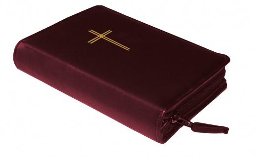 Gotteslobhülle Kreuz Gold Kunstleder Weinrot Gesangbuch Einband Katholisch