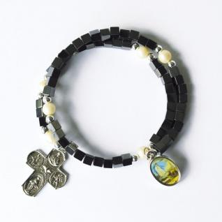 Armband Fatima Hämatit-Würfel Perlen Kreuz Ø 7 cm Christlicher Armschmuck
