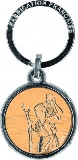 Schlüsselanhänger Christophorus silber mattgold Metall 7, 3 x 3, 5 cm