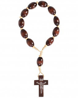 10er Auto-Rosenkranz Holz-Perlen 17 cm stabil geknüpft dunkel ovale Perle