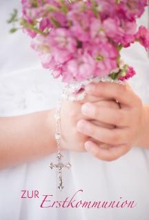 Glückwunschkarte Zur Erstkommunion (6 Stück) Blumenstrauß Rosenkranz