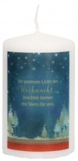 Stumpenkerze Tischkerze Licht der Weihnacht Druckmotiv 10 cm Tanja Sassor