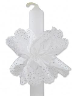 Taufe Kerzenmanschette Satin verziert - 12 x 9 cm