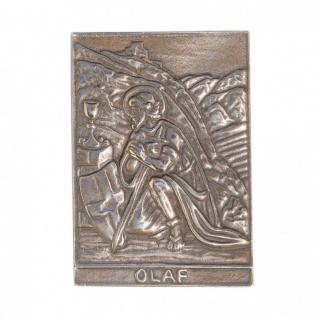 Namenstag Olaf 8 x 6 cm Bronzeplakette Bronzerelief Wandbild Schutzpatron