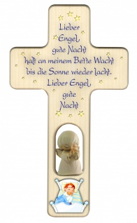 Kinderkreuz geschnitzter Schutzengel Gute-Nacht-Gebet Bergahorn 20 cm Wandkreuz