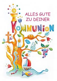 Glückwunschkarte Baum christliche Symbole Alles Gute zur Kommunion (6 Stück)