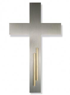Wandkreuz schlicht Edelstahl Kreuz Messing Intarsie 20 cm Stahlkreuz Kruzifix