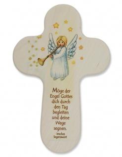 Kinderkreuz Engel mit Posaune Naturholz Irisches Segenswort 15 cm Wandkreuz Holz