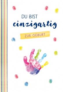 Glückwunschkarte Geburt Hand-Abdruck 6 Stck Liebe Wunder Geschenk Baby Leben