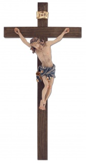 Wandkreuz Kruzifix Linde dunkel gebeizt Ahorn Jesus Korpus bemalt Kreuz 33, 5 cm