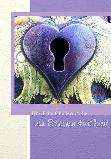 Hochzeitskarte Herz Eiserne Hochzeit (3 Stck) Glückwunschkarte Kuvert