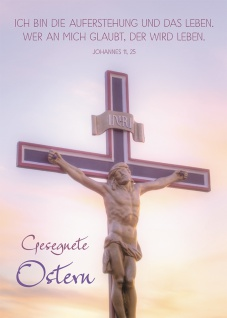 Postkarte Gesegnete Ostern (10 St) Kreuz mit Korpus Johannes Lutherbibel