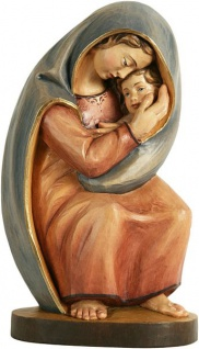 Stalingrad Madonna Holzfigur, geschnitzt handbemalt Maria mit Kind