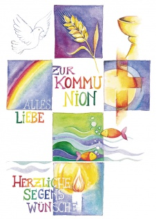 Postkarte Zur Kommunion alles Liebe und herzliche Segenswünsche (10 St) Kreuz