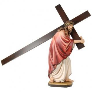 Jesus Kreuzträger Holzfigur geschnitzt Südtirol