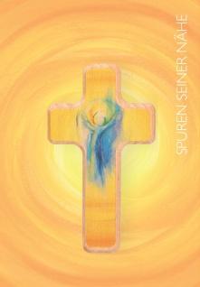 Glückwunschkarte zur Kommunion Engel mit Holzkreuz Kuvert Erstkommunion