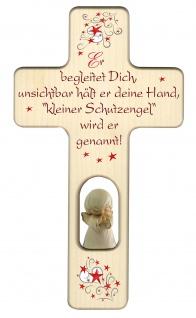 Kinderkreuz Gute-Nacht Gebet Schutzengel weiß Holz Kreuz geschnitzt 20 cm