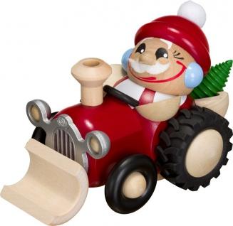 Räuchermännchen Nikolaus im Traktor 11 cm Räuchermann Erzgebirge Handarbeit