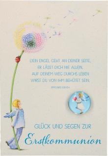 Glückwunschkarte mit Glasmagnet Glück und Segen zur Erstkommunion 5 Stk