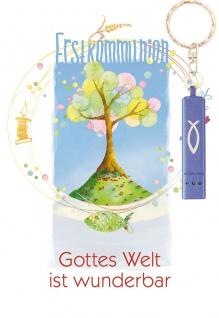 Glückwunschkarte Erstkommunion Taschenlampe (5 St) Lebensbaum Grußkarte Kuvert - Vorschau